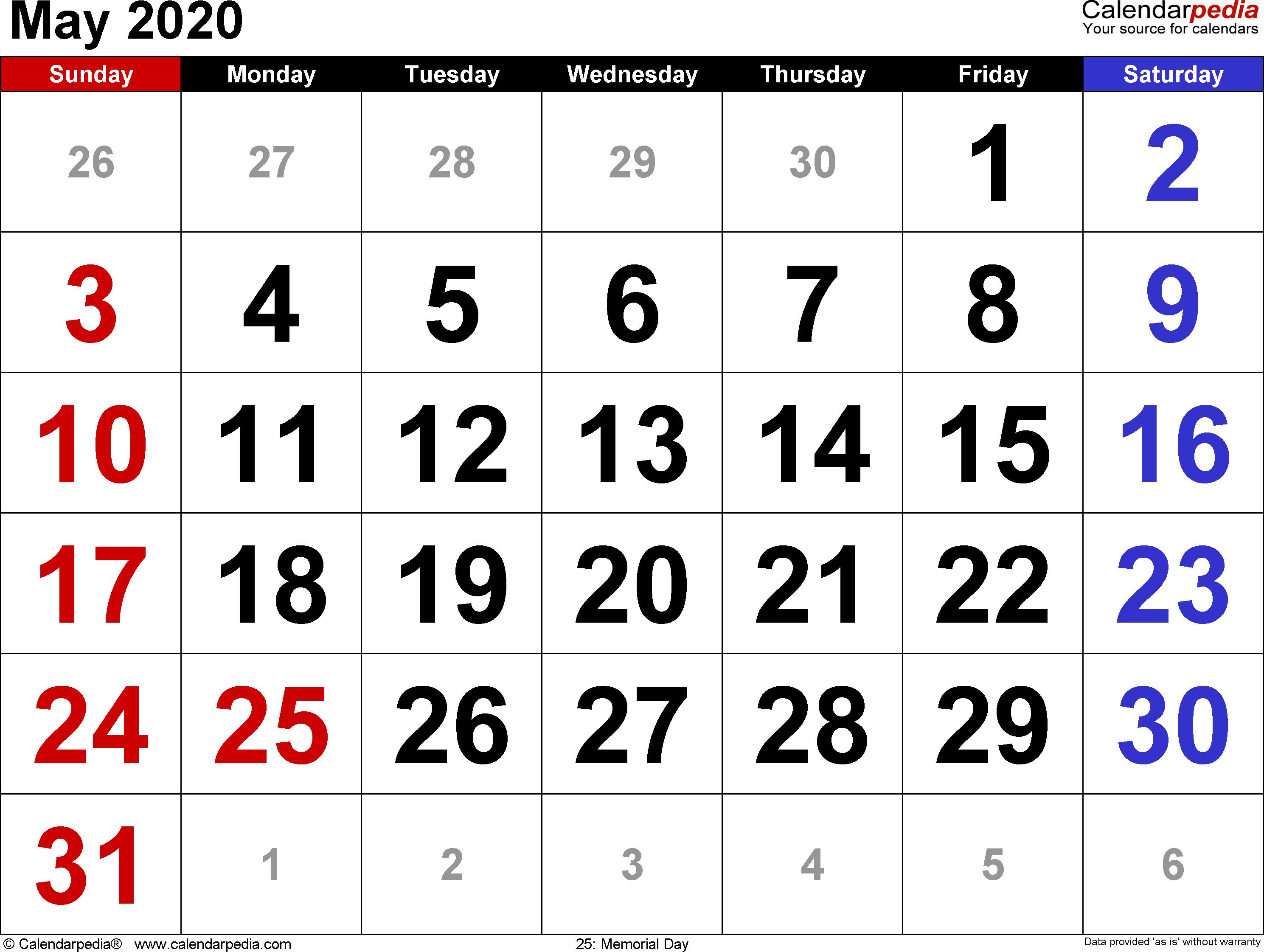 May 2020 Calendar Canada