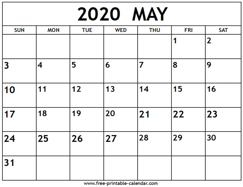 May 2020 Calendar - Free-Printable-Calendar