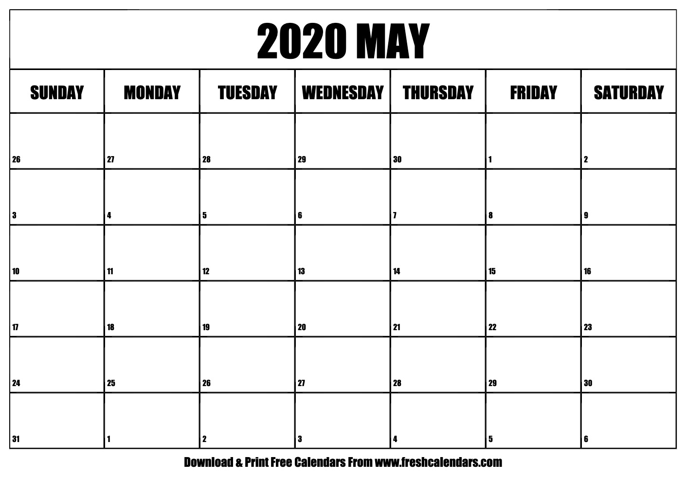 May 2020 Calendar Printable - Fresh Calendars