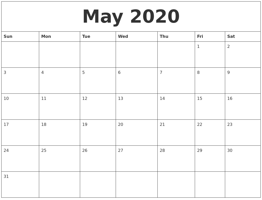 May 2020 Free Calendar Download