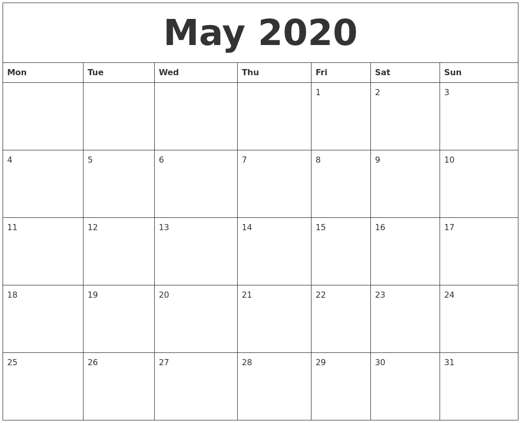 May 2020 Monthly Printable Calendar