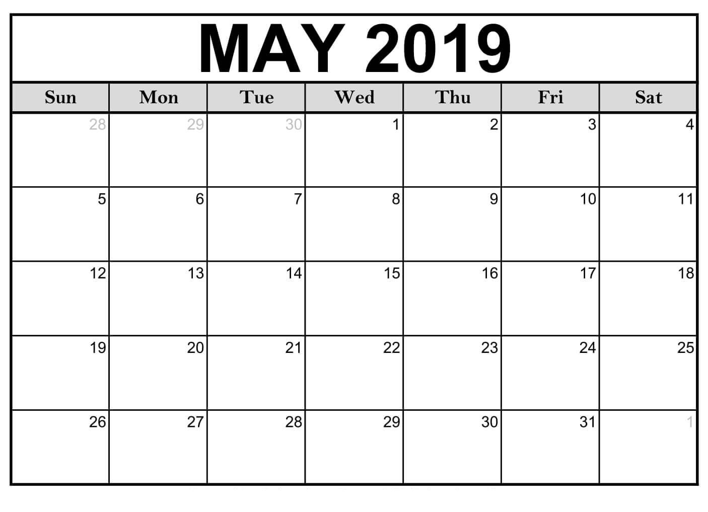 May Calendar 2019 Printable - Printable Calendar Templates Blank