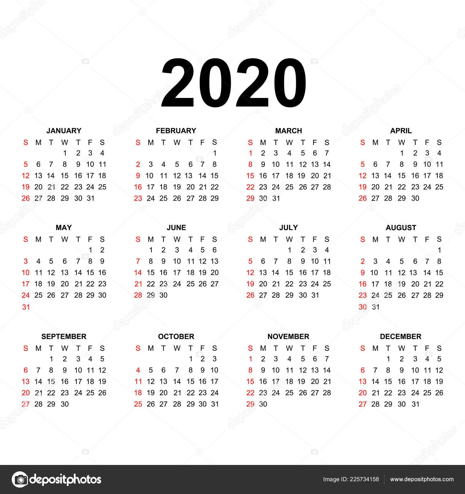 Modello Calendario 2020 Disegno Del Calendario Nei Colori Bianco