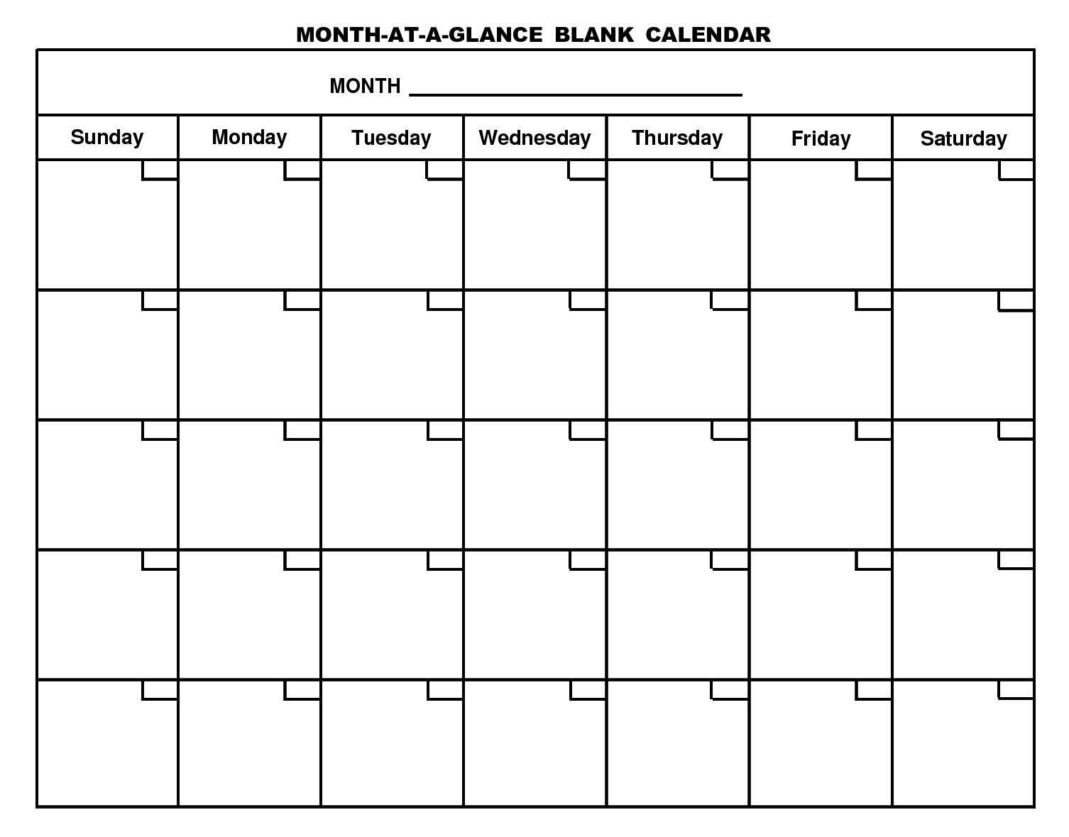 Month Blank Calendar - Erha.yasamayolver