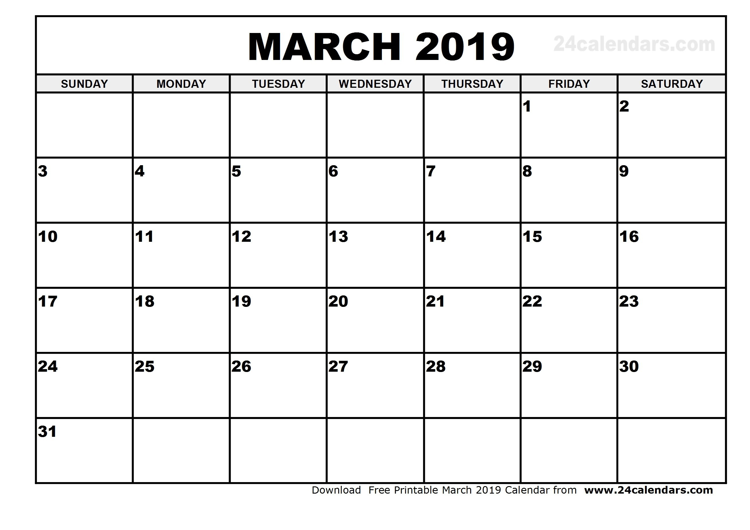 Month Of March Calendar 2019 - Agadi.ifreezer.co