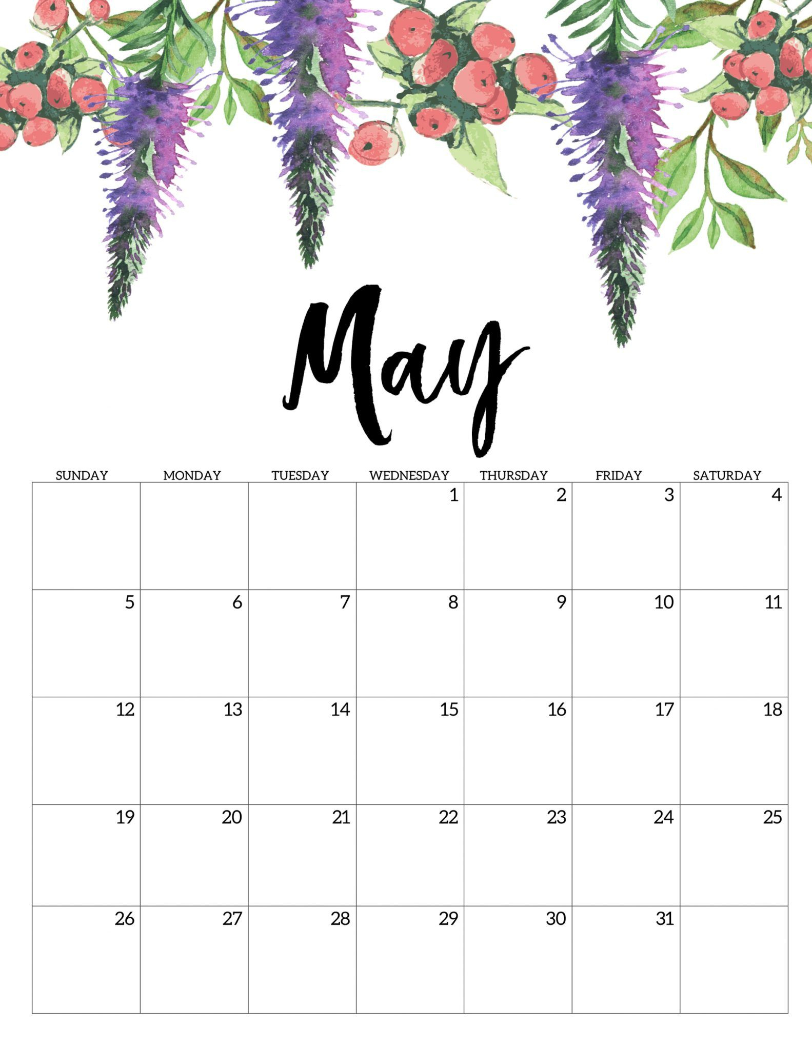 Month Of May 2019 Printable Calendar - Free Printable Calendar