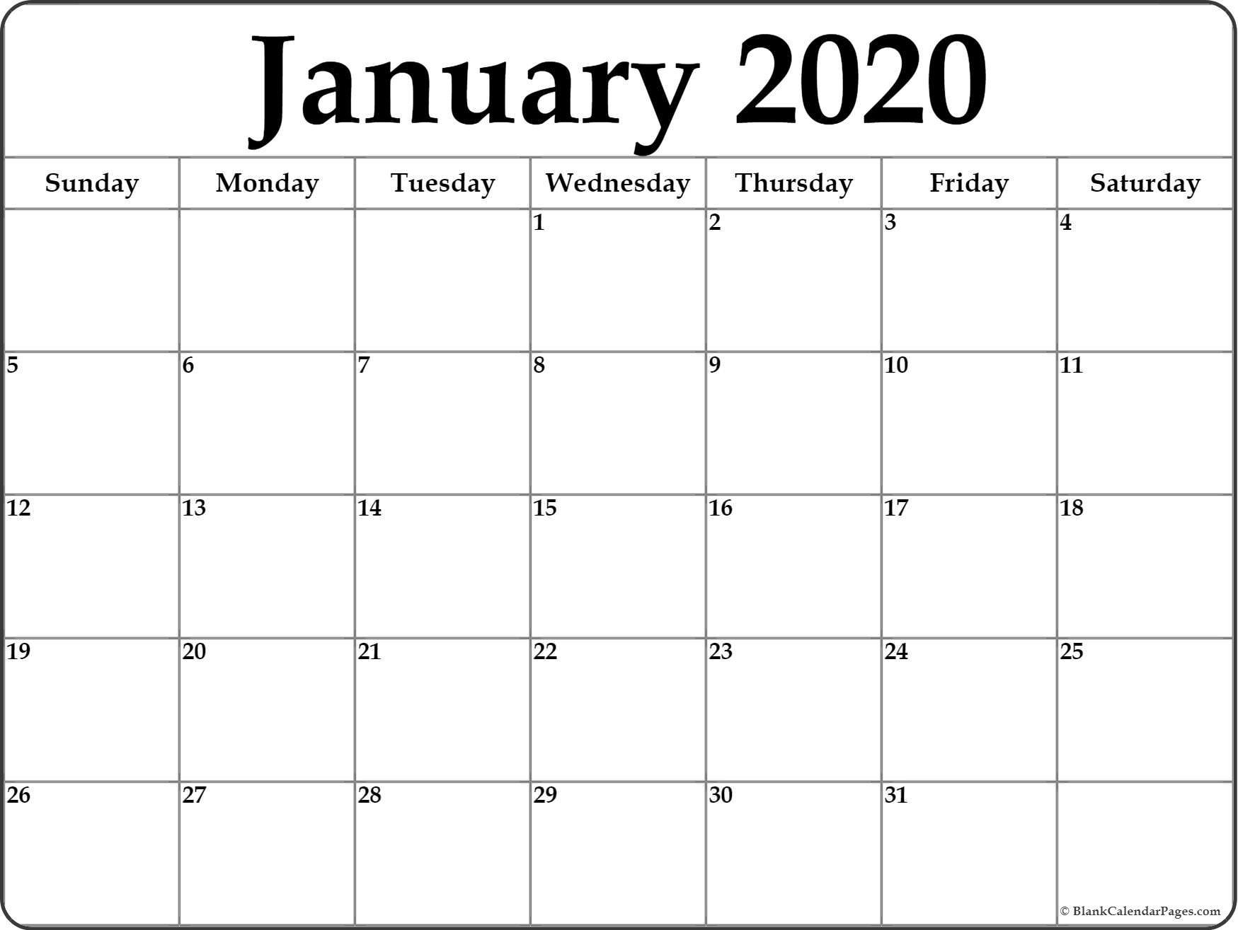 Monthly 2020 Calendar Printable January 2020 Blank Calendar