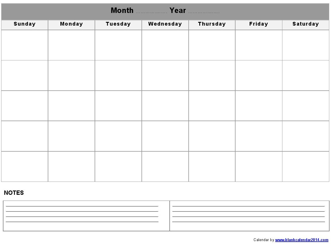 Monthly-Blank-Calendar-Notes-Landscape