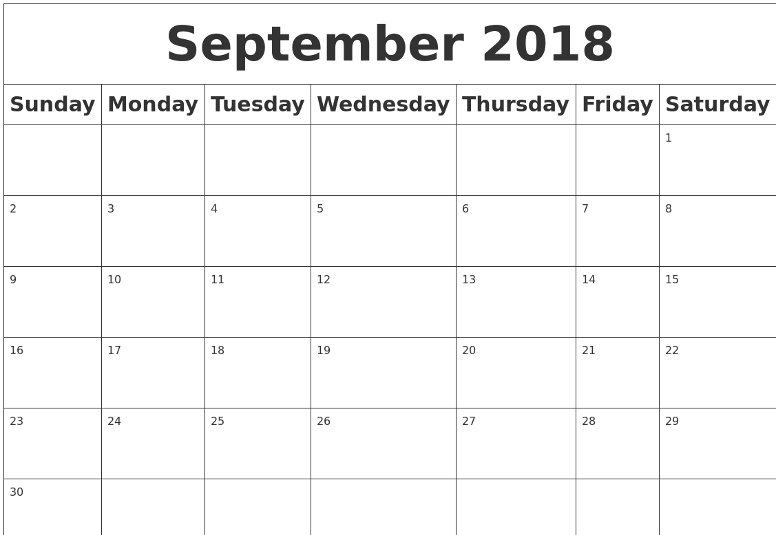 Monthly September 2018 Calendar Word