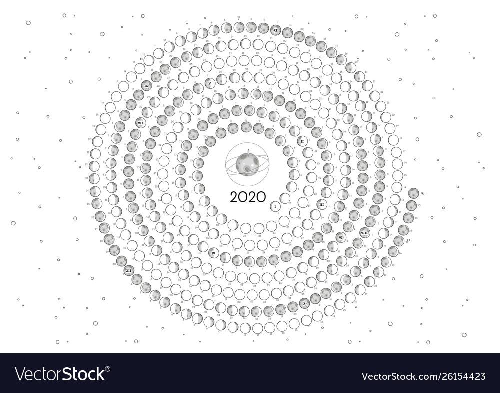 Moon Calendar 2020 Southern Hemisphere White Round