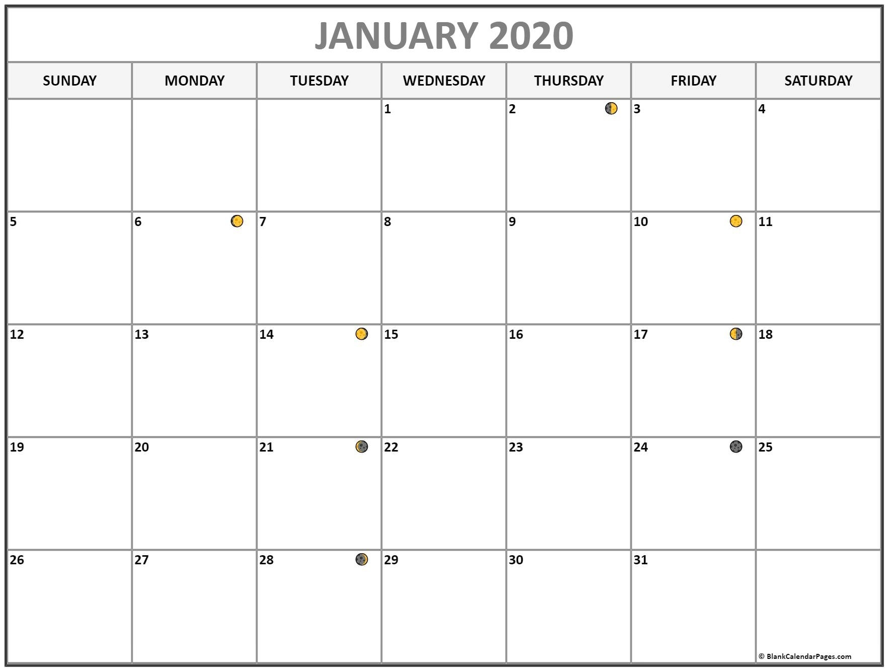 Moon Phase Calendar 2020 Calendar With