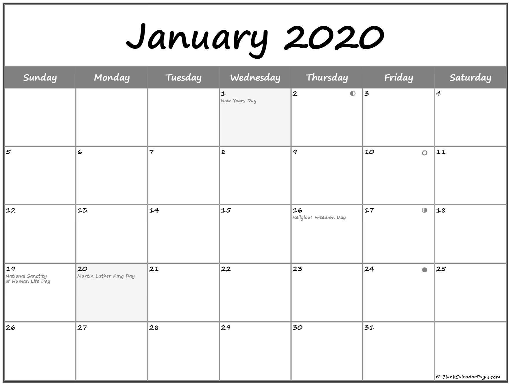 Moon Phase Calendar 2020 Calendar With
