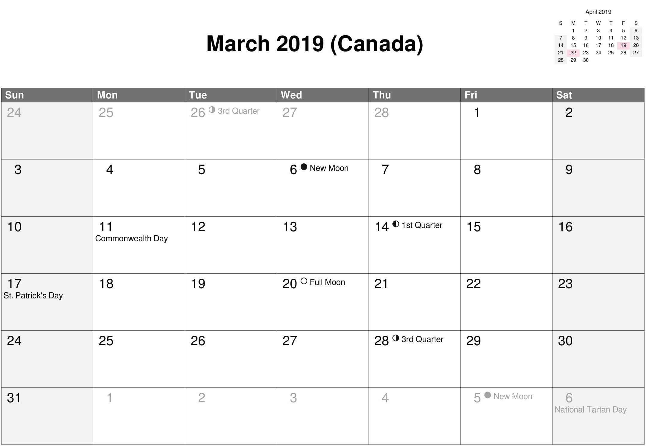 Moon Phases March 2019 Calendar Canada #march2019 #march2019Calendar