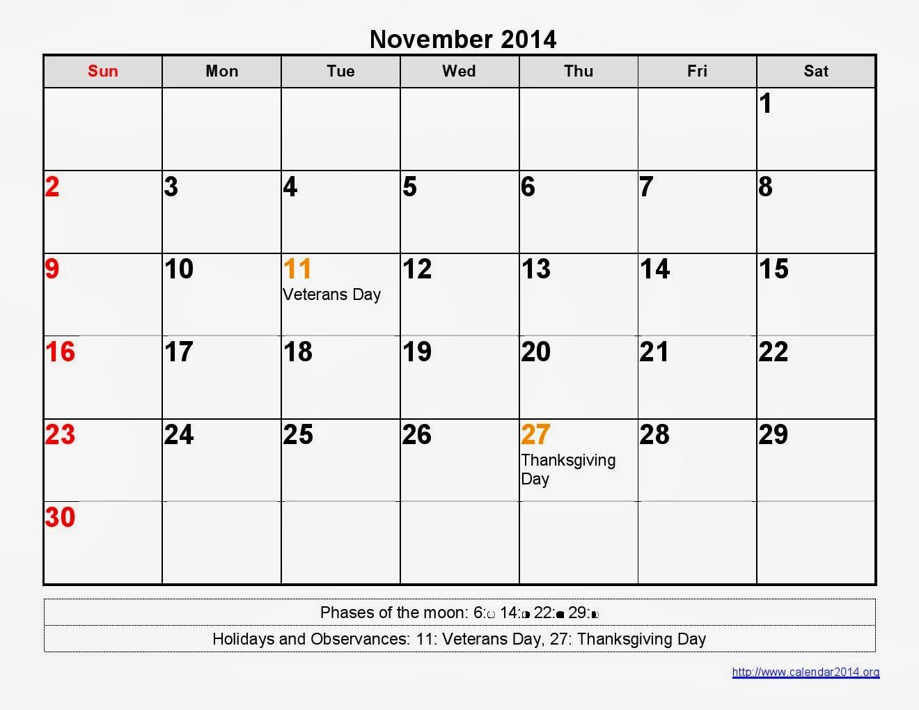 November 2014 Calendar Printable Moon Phases - Printable Calendar