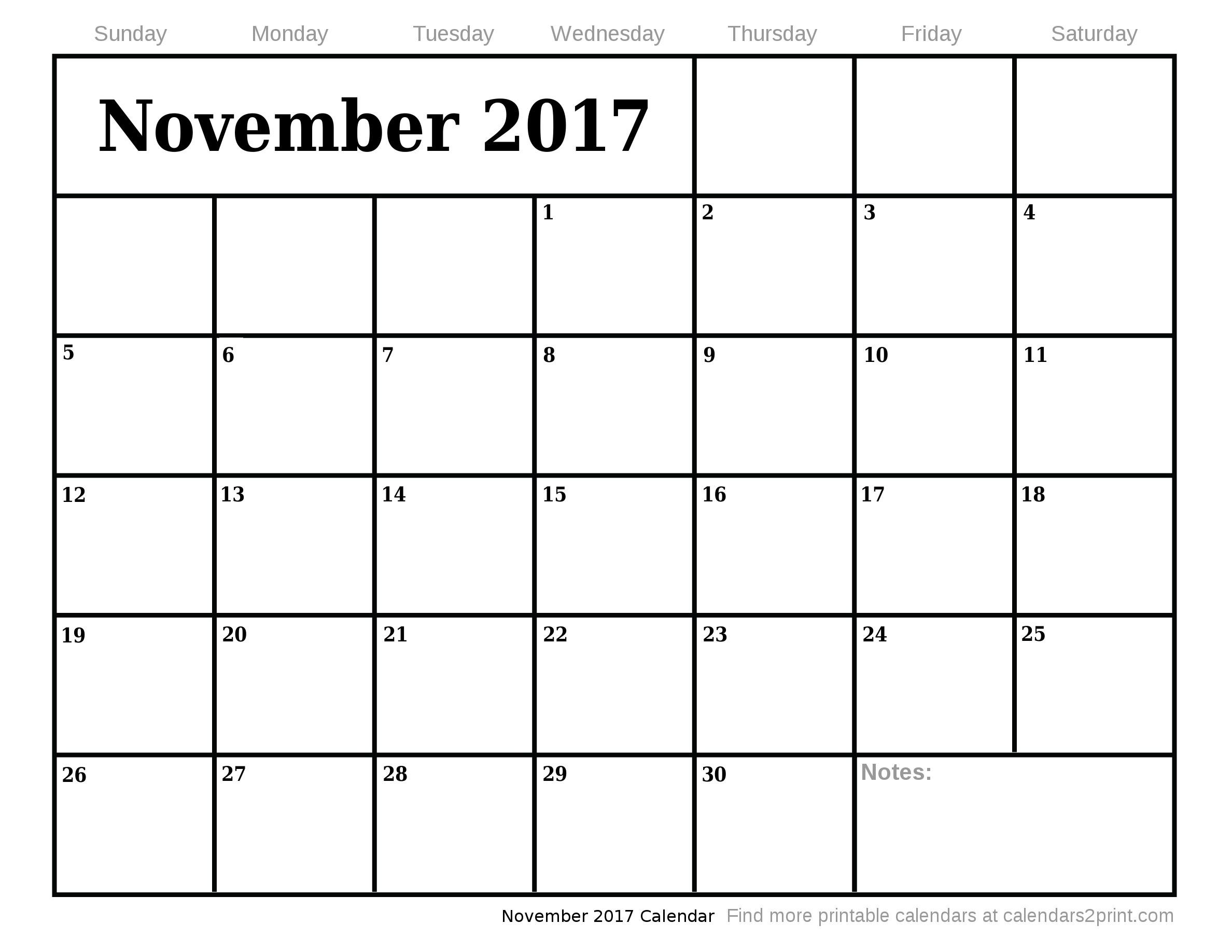 November 2017 Printable Calendar 18 Nov Calendar 2017