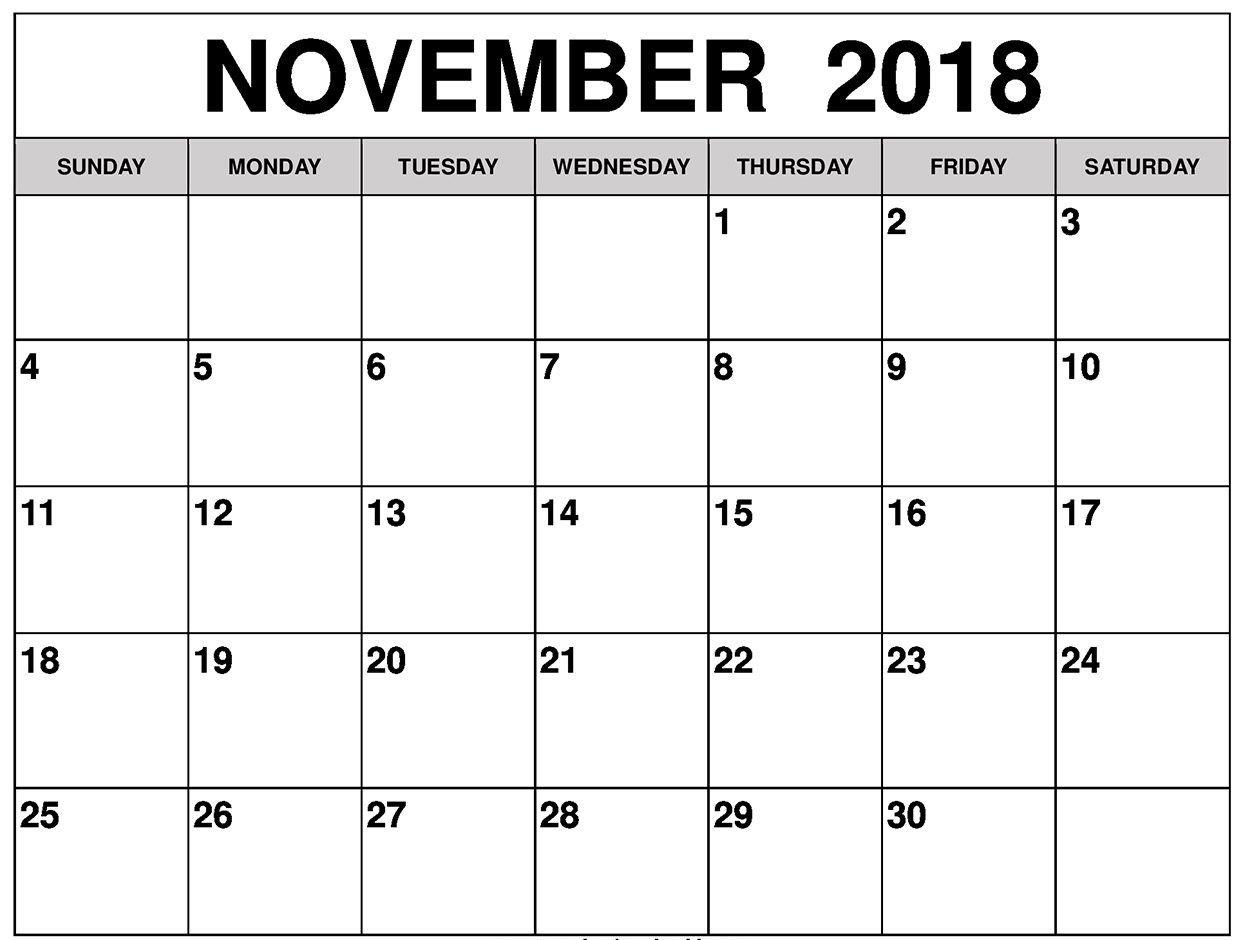 November 2018 Calendar, Printable, Blank Template, Pdf, Word, Excel