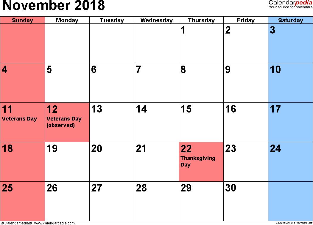 November 2018 Calendars For Word, Excel & Pdf