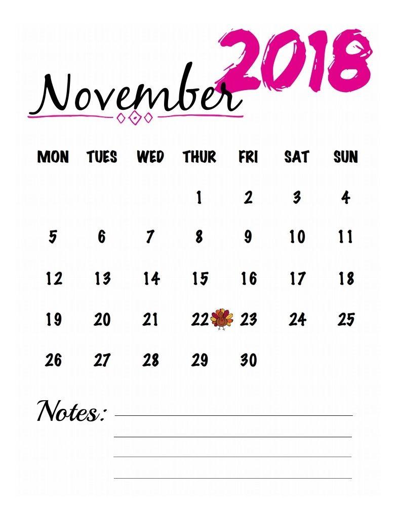 November 2018 Watercolor Calendar Printable