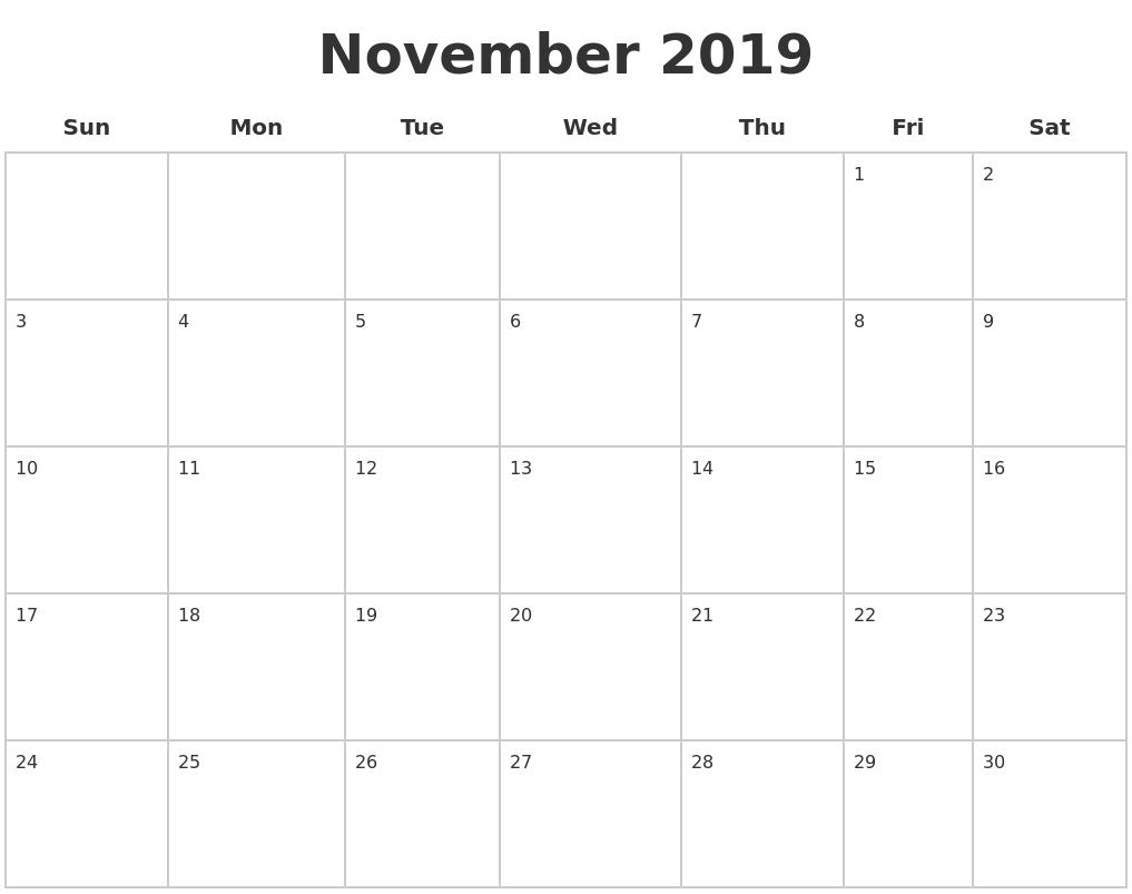 November 2019 Blank Calendar Pages