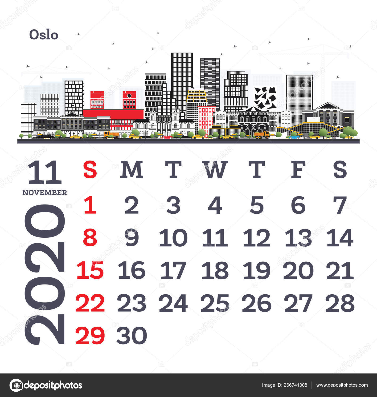 November 2020 Calendar Template With Oslo City Skyline. — Векторное