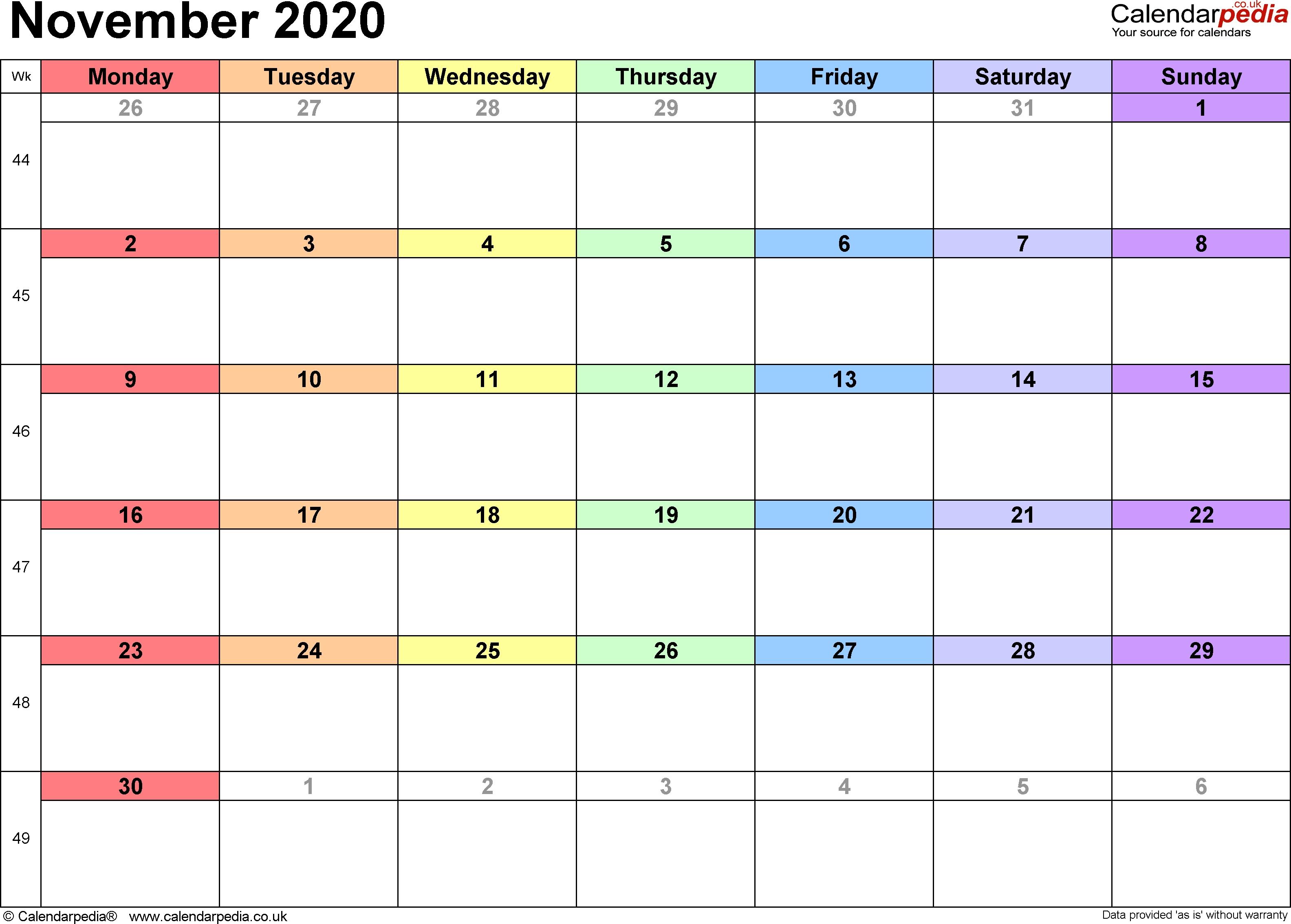 November 3 2020 Calendar