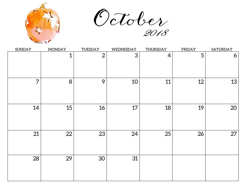 October 2018 Printable Blank Calendar