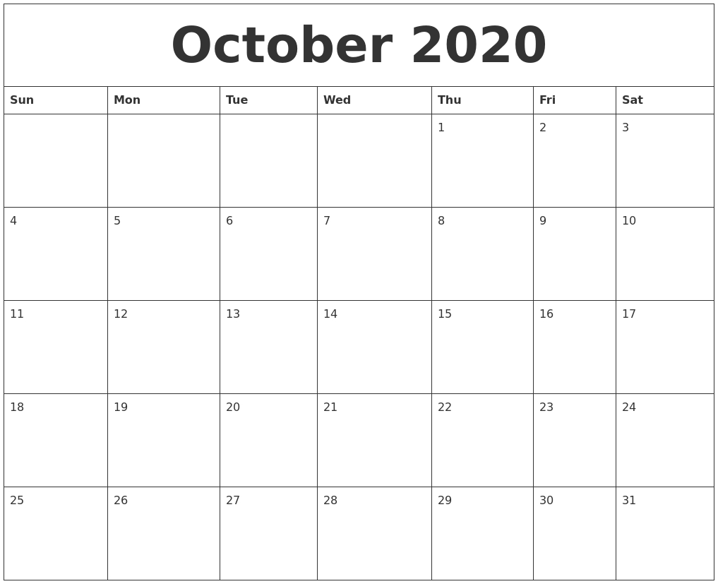 October 2020 Free Calendar Download
