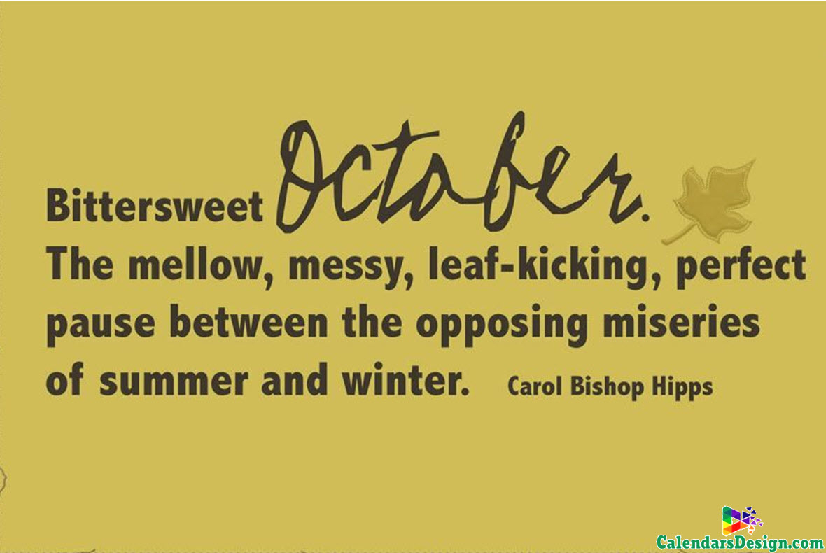 October Month Quotes - Free 2019 Printable Calendar, Templates, Holidays