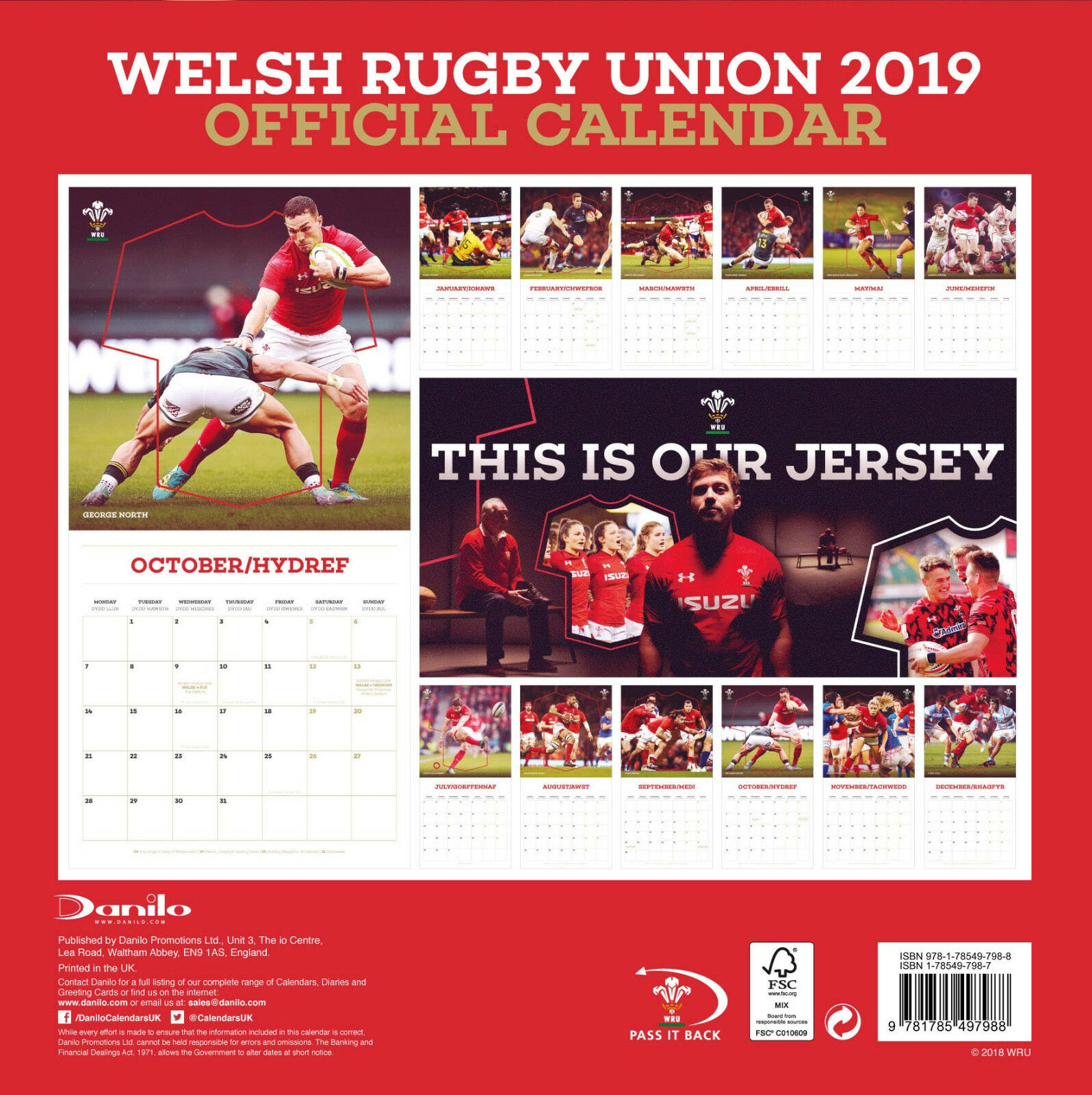 Official 2019 Square Wall Calendar Welsh Rugby Union Cymru Wales