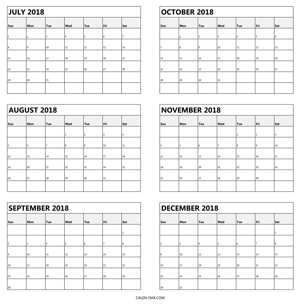 One Page Calendar Printable