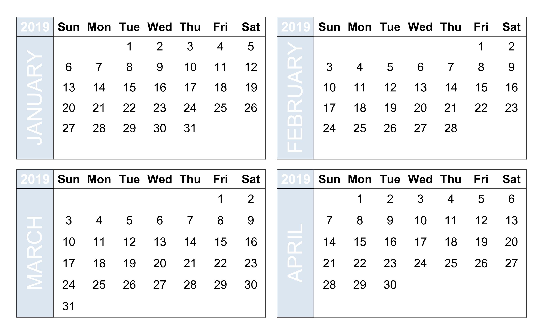 Perky 4 Month Blank Calendar • Printable Blank Calendar Template