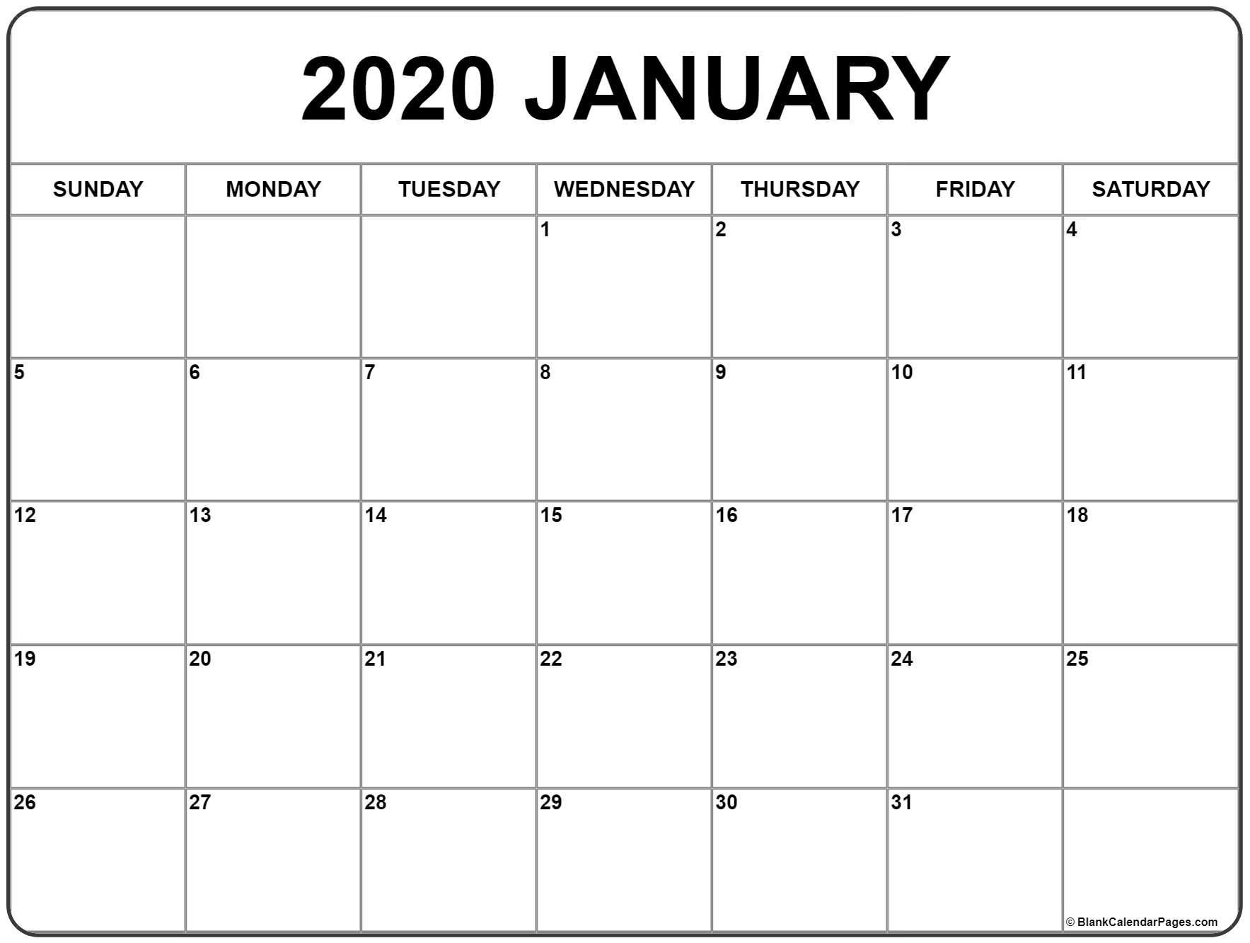 Perky January 1 2020 Calendar • Printable Blank Calendar Template