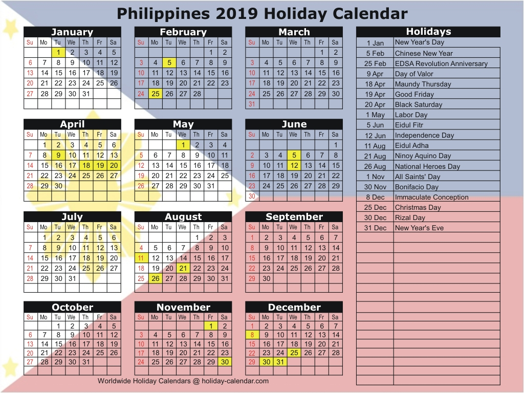 Philippines 2019 / 2020 Holiday Calendar