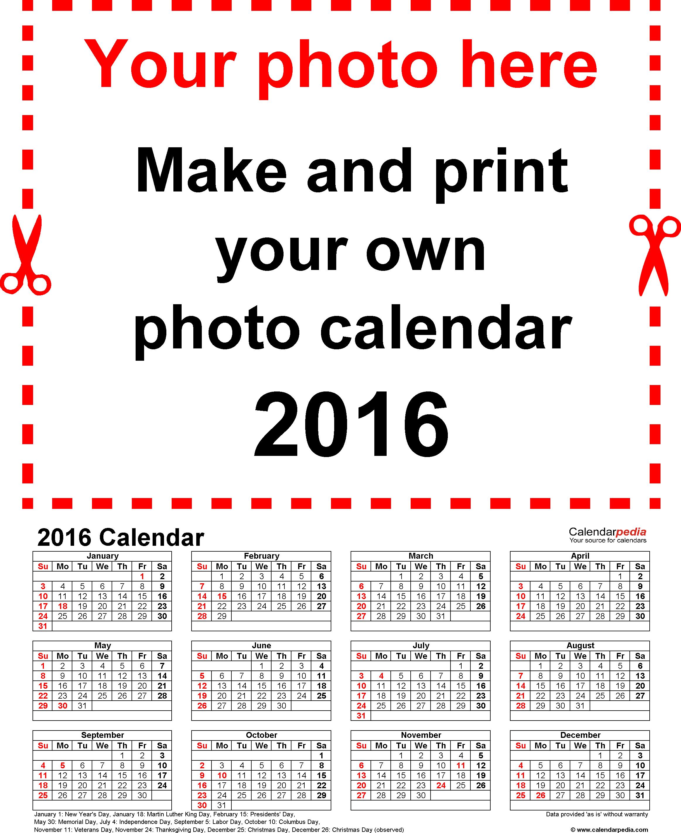 Photo Calendar 2016 - Free Printable Word Templates