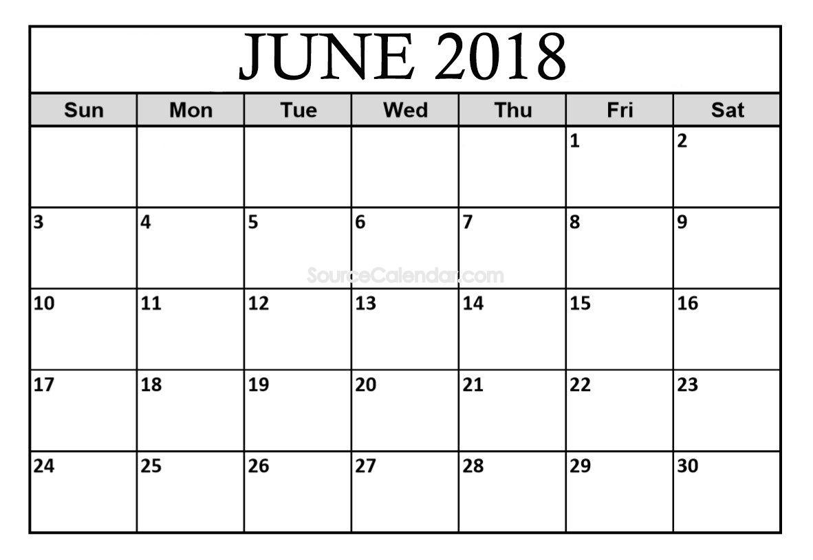 Pincalendar On June 2018 Calendar