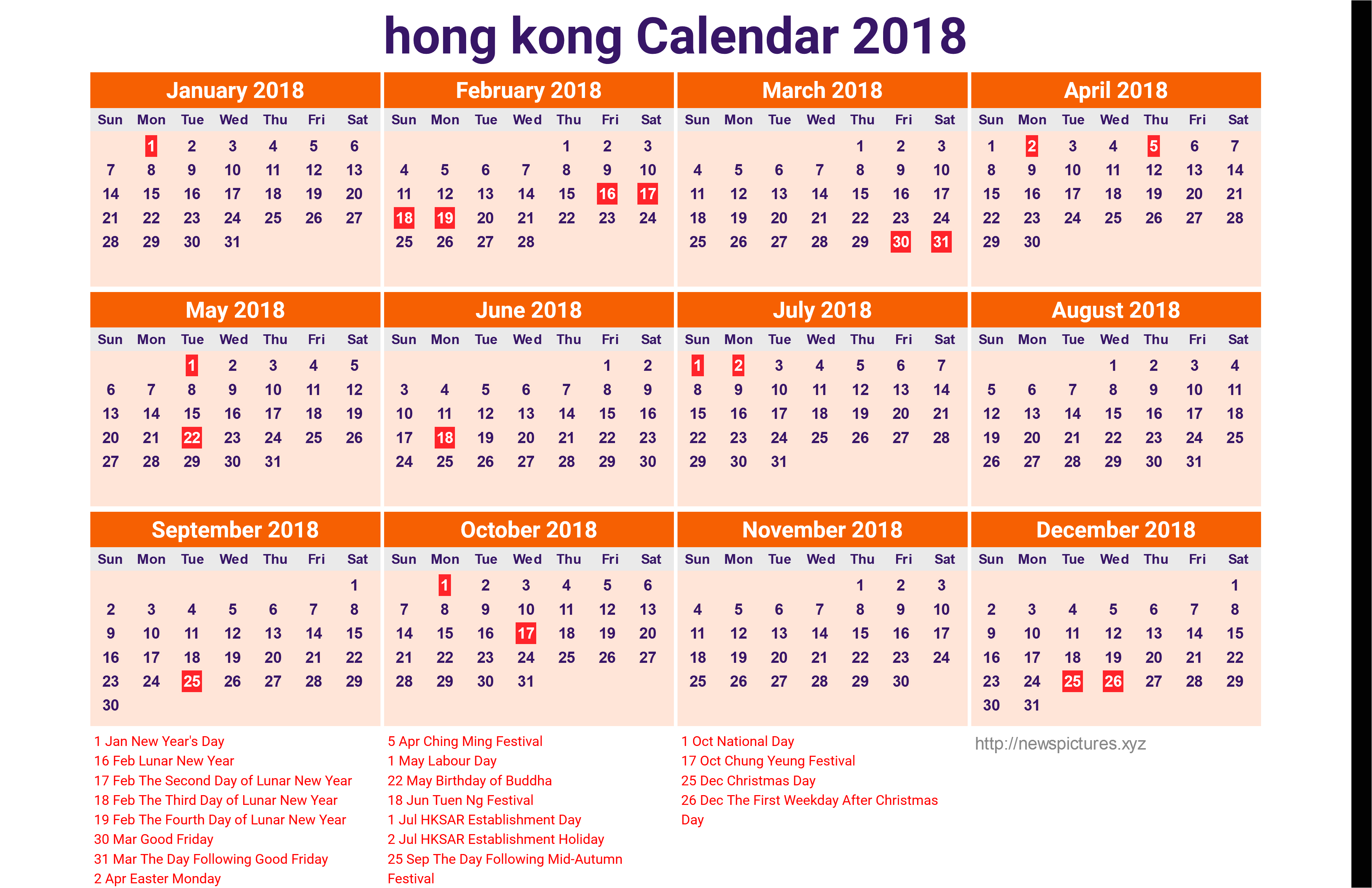 Print 45 Illustration 2019 Calendar Hong Kong