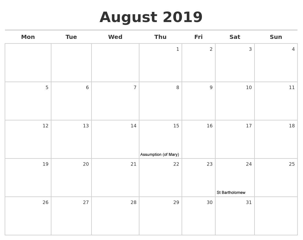 Print August 2019 Calendar Nz - Printable Calendar 2019