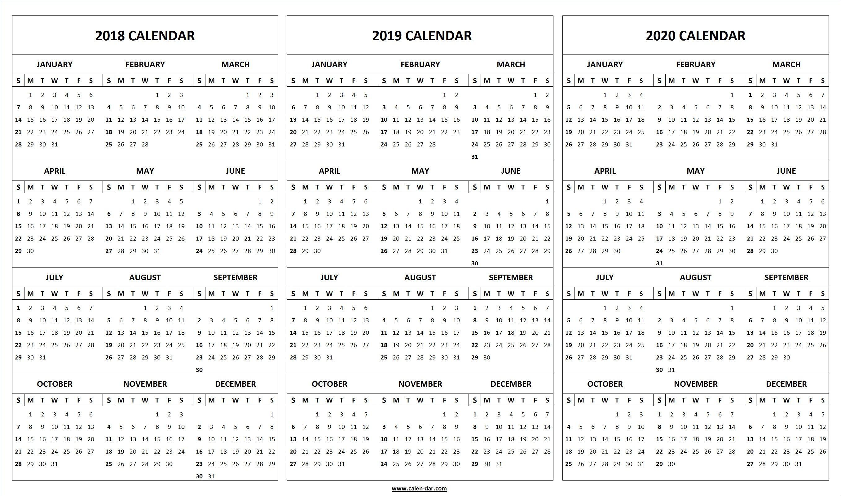 Print Blank 2018 2019 2020 Calendar Template