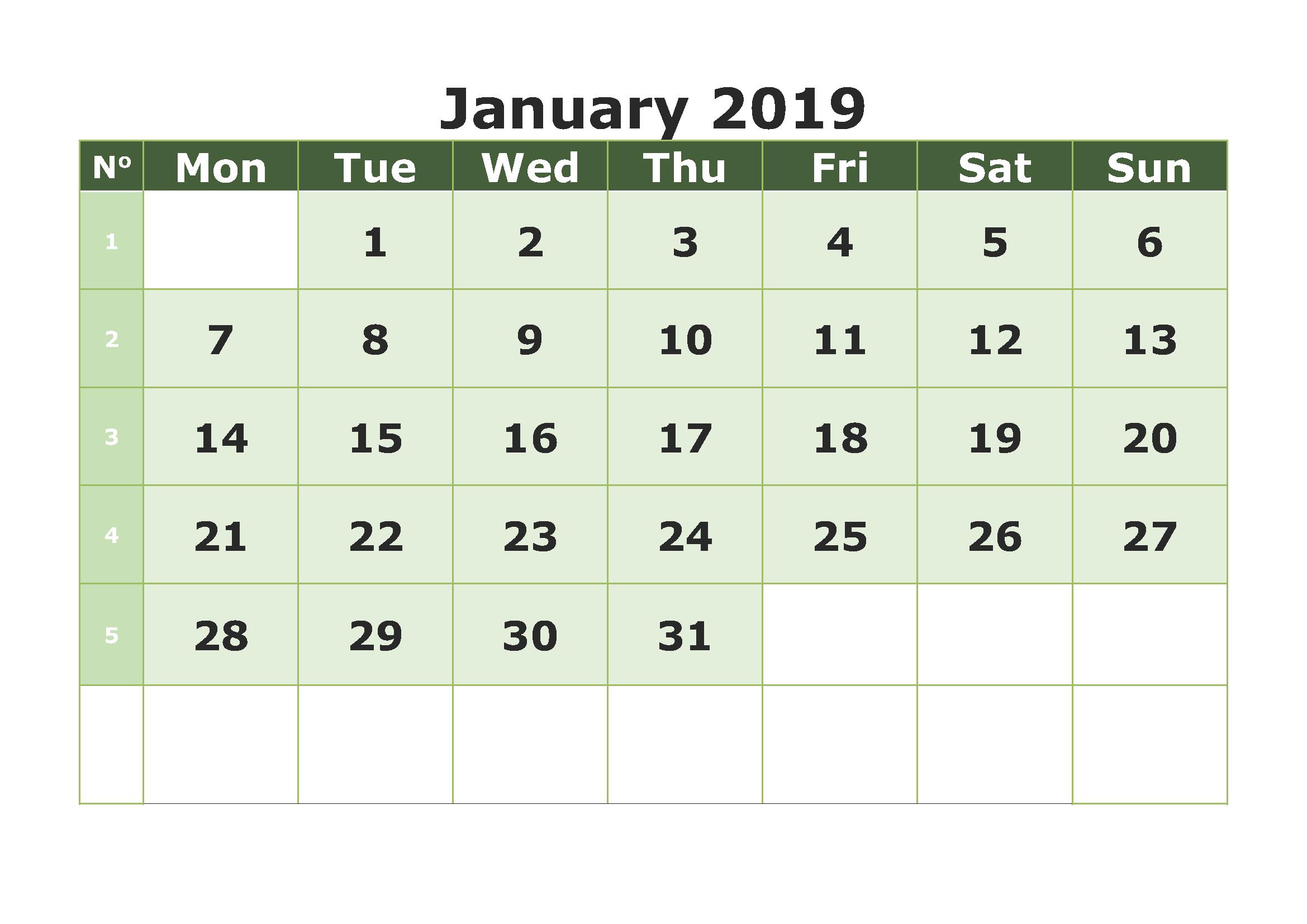 Print Blank Calendar January 2019 - Free Printable Calendar