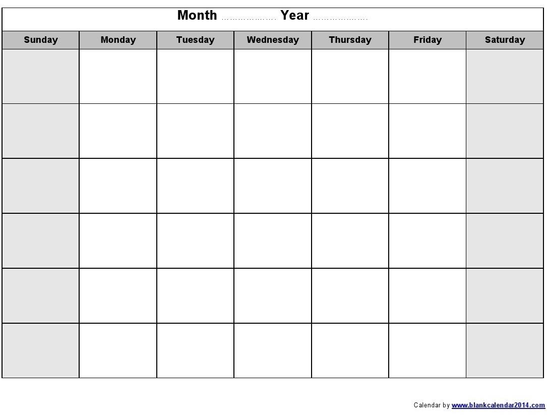 Print Blank Calendar Template Monthly Calendar Print Blank Calendar