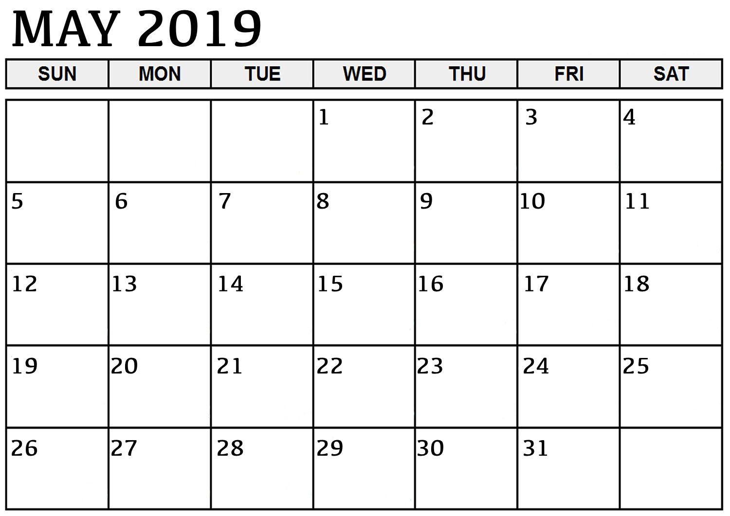 Print Monthly Blank Calendar May 2019 Printable Template Pdf, Word