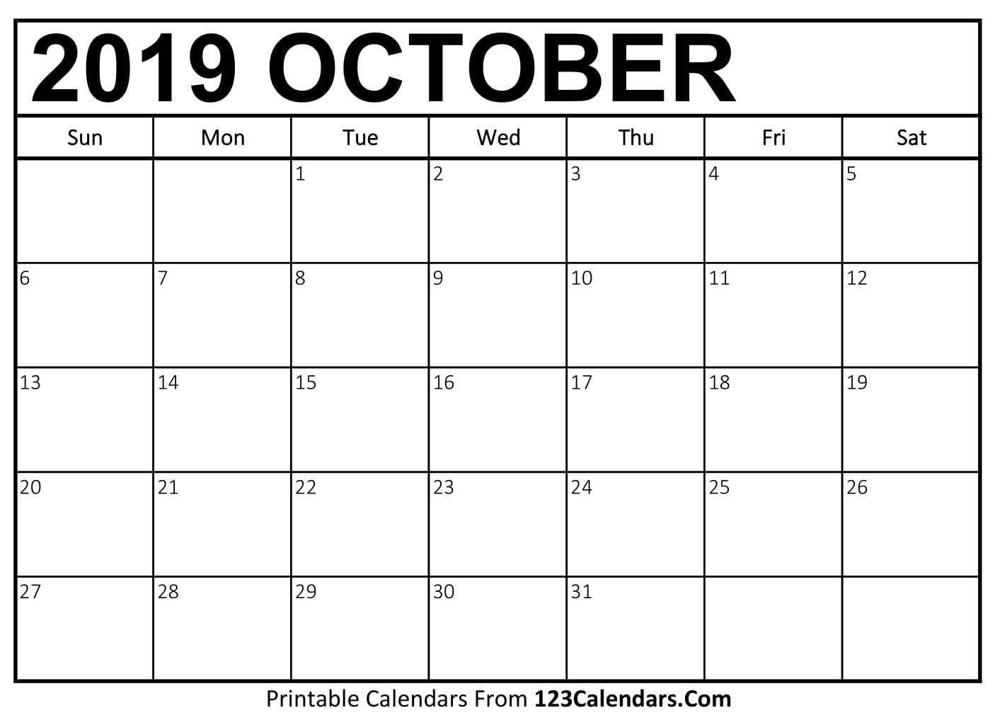 Print Out October Calendar