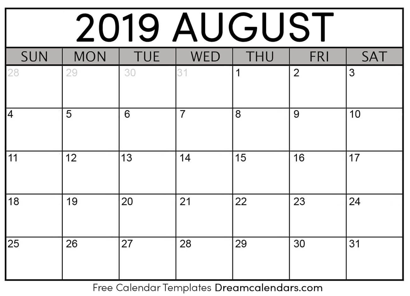 Printable 2019 August Calendar Monthly Template