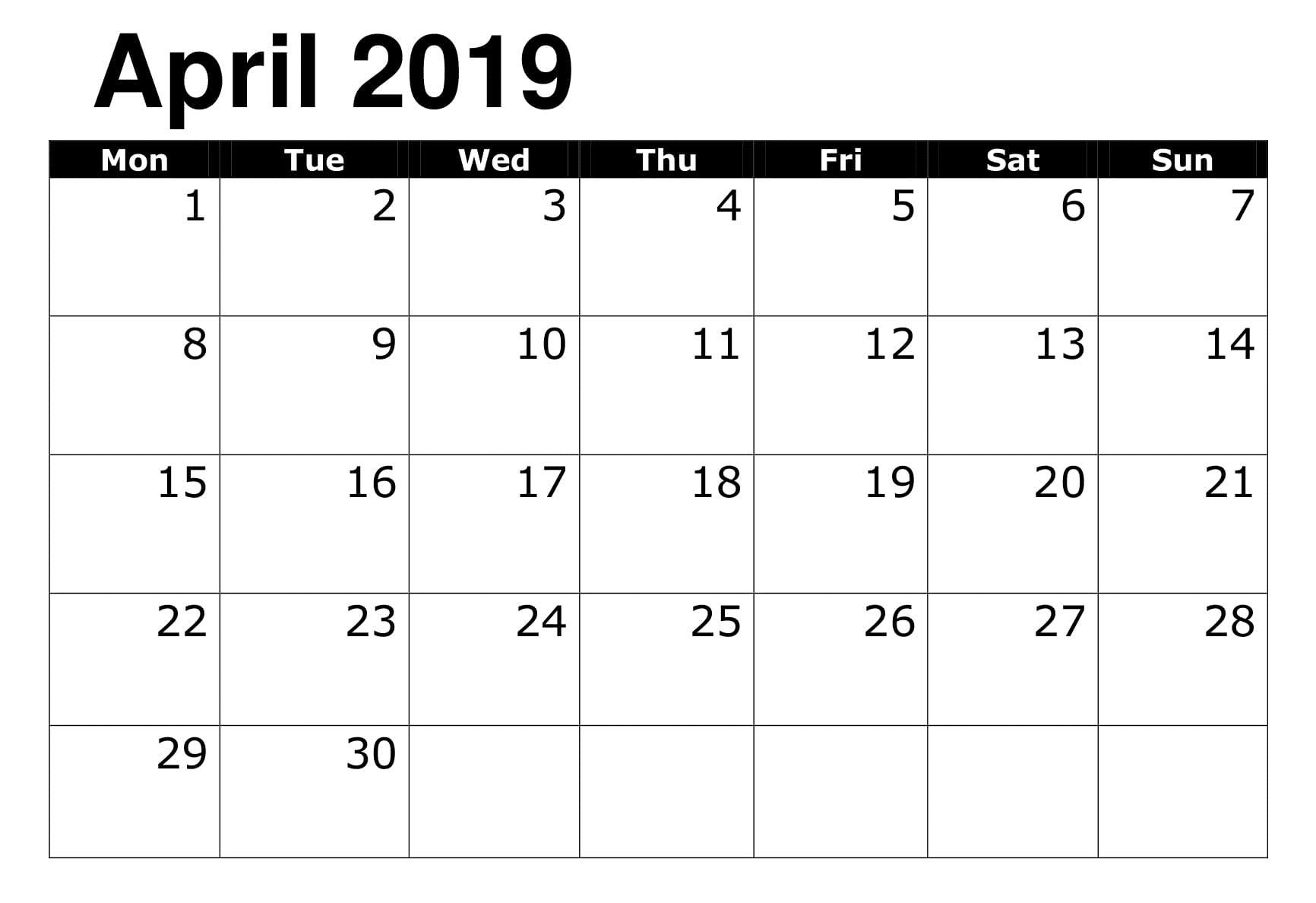 Printable 2019 Calendar Editable April