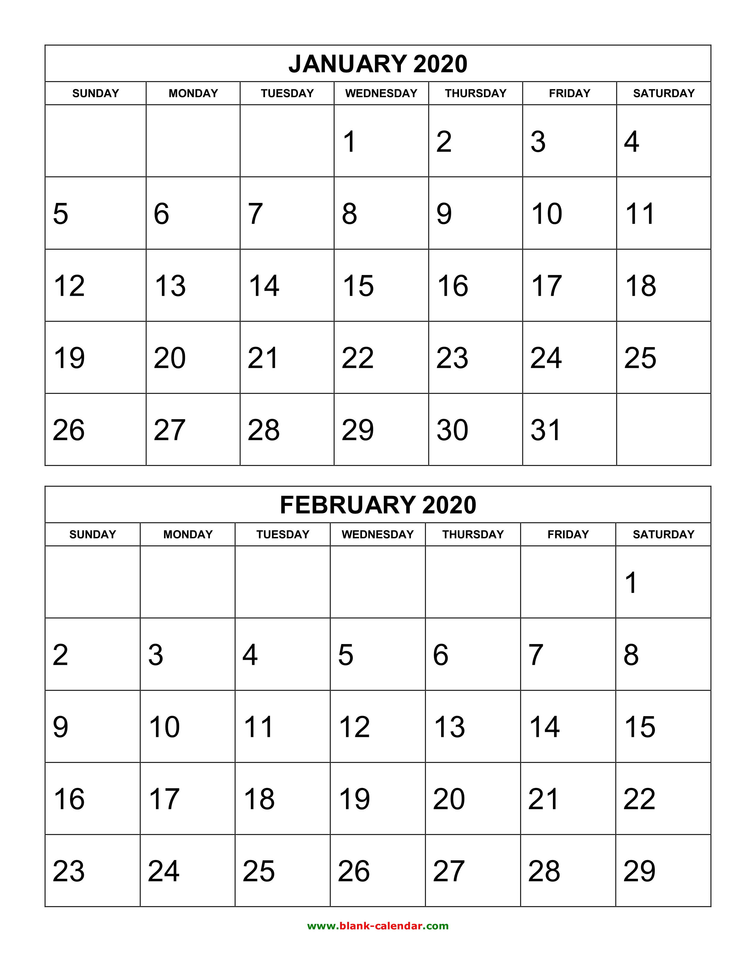 Printable 2020 Calendar By Month