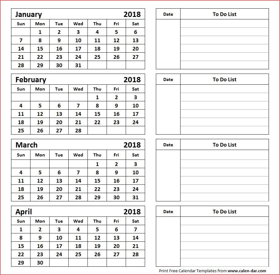 Printable 4 Month Calendar Printable Calendar 4 Months Per Page
