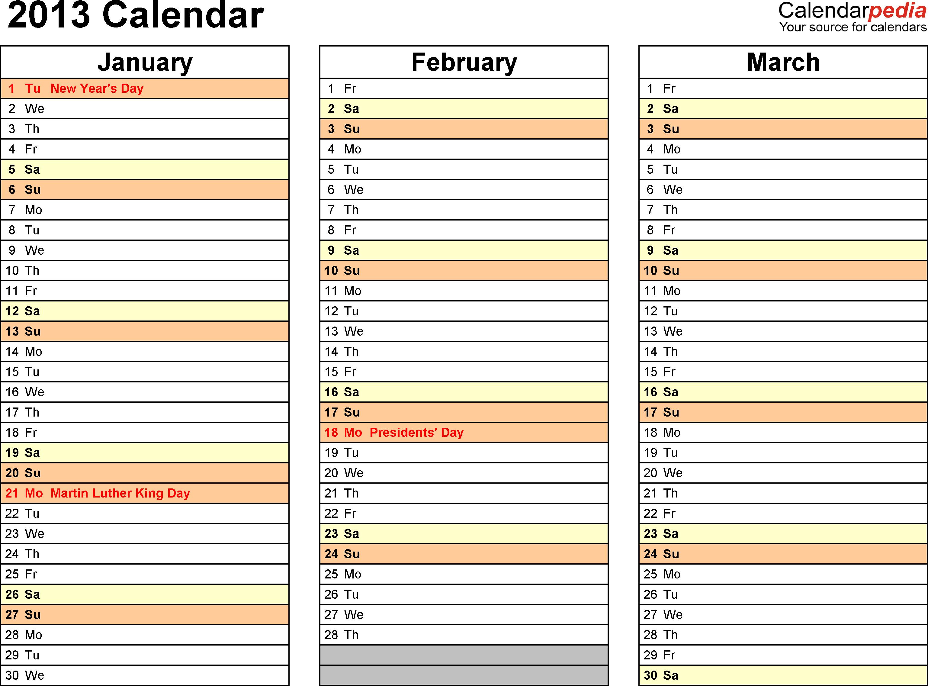 Printable 6 Month Calendar