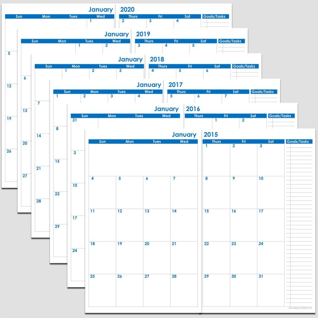 Printable 72-Months 2-Page Calendar – 2015-2020 – 5 1/2″ X 8 1/2