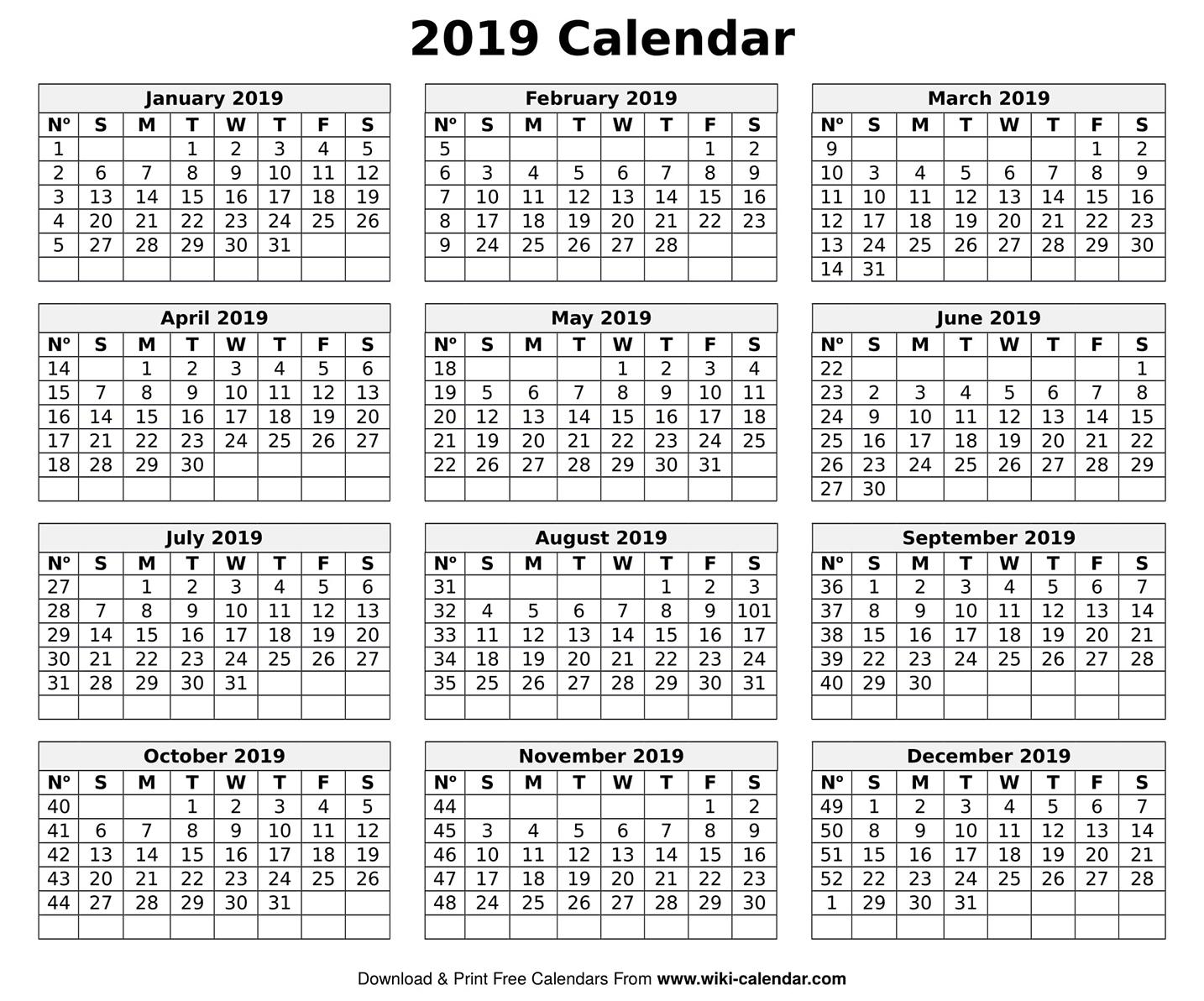 Printable Blank 2019 Calendar Templates Free Printable 5 Day