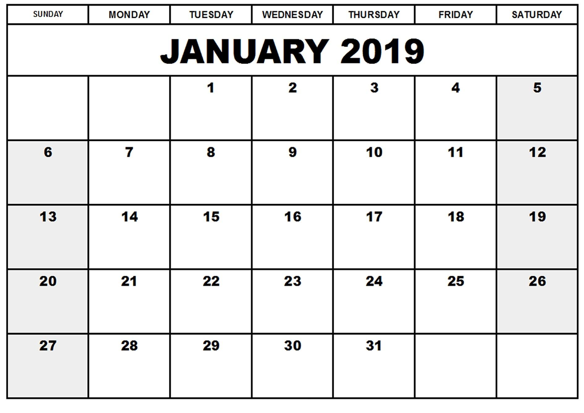Printable Blank 2019 January Calendar Excel - Free Printable